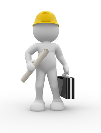 3d people- human character - suggesting an engineer  3d render illustration illustration