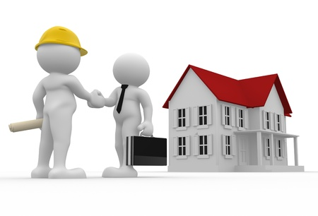 home buyer: 3d people- human character - engineer and house buyer  3d render illustration
