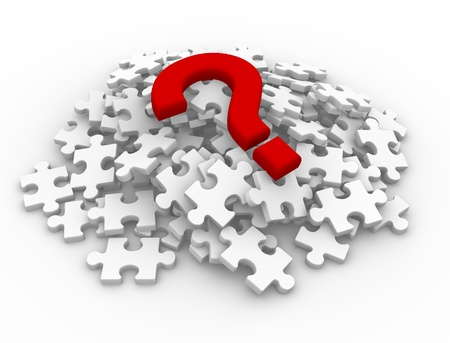missing: Puzzle pieces and question mark  This is a 3d render illustration Stock Photo