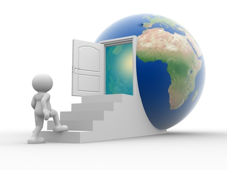 3d people - human character climbs stairs to the earth globe  3d render illustration illustration