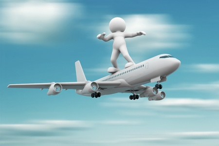man flying: 3d people - human character standing over airplane flying   3d render illustration