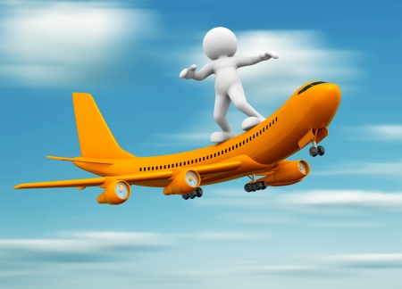 planar: 3d people - human character standing over airplane flying  3d render illustration