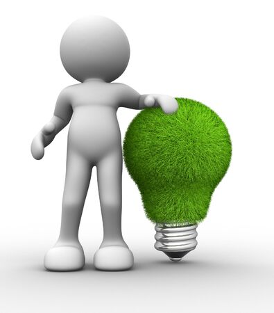 energy conservation: 3d people -human character  bulb made from grass  3d render illustration