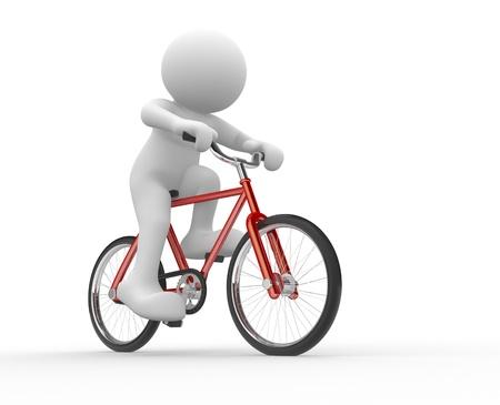 fiets: 3d mensen - menselijk karakter - die op de fiets 3d render illustratie