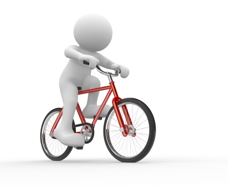 bicycle: 3d people - human character  - running on bicycle  3d render illustration Stock Photo