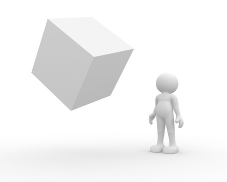 3d people - human character looking at a cube suspended  3d render illustration illustration