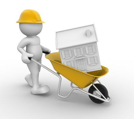 3d people - human character with wheelbarrow and house white  3d render illustration illustration