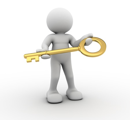 golden key: 3d people - human character with a key - This is a 3d render illustration  Stock Photo
