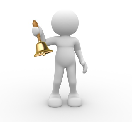 3d people -human character with a bell in hand  3d render illustration Stock Illustration - 14767322