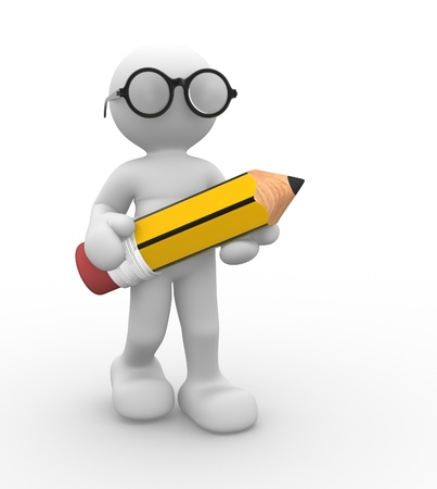 character illustration: 3d people- human character with pencil and glasses  This is a 3d render illustration  Stock Photo