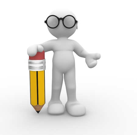 nerd: 3d people- human character with pencil and glasses  This is a 3d render illustration  Stock Photo