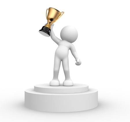 3d people- human character with the cup on the podium  This is a 3d render illustration  Stock Illustration - 14767251