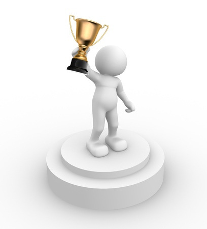 3d people- human character with the cup on the podium This is a 3d render illustration Stock Illustration - 14767231
