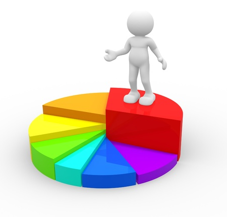 percentages: 3d people - human character and financial chart  3d render illustration