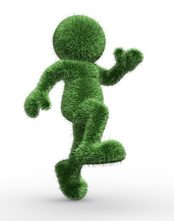 topiary: 3d people- human character covered with grass  3d render illustration