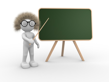teach: 3d people - human character pointing on backboard - This is a 3d render illustration  Stock Photo