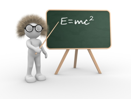 3d people - human character pointing on backboard - Einsteins theory of relativity  This is a 3d render illustration  illustration
