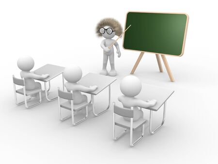 3d people - human character pointing on backboard - teacher  This is a 3d render illustration  illustration