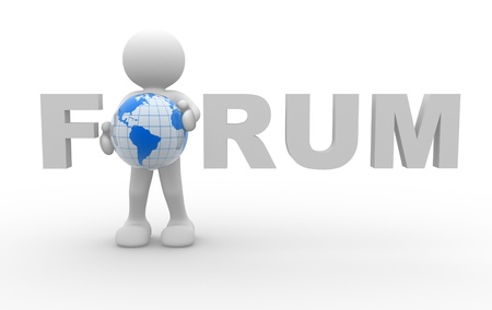 3d people - human character and word  Forum  typo with Earth globe in place of  o   3d render  photo