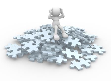 3d gente - carácter humano se sienta sobre un montón de piezas de un rompecabezas 3d ilustración