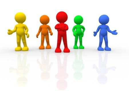 3d people - human character - different men  3d render illustration Stock Illustration - 14767485