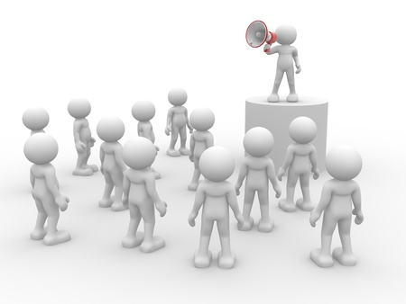 collectives: 3d people- human character speaking at megaphone in front of the crowd  3d render illustration