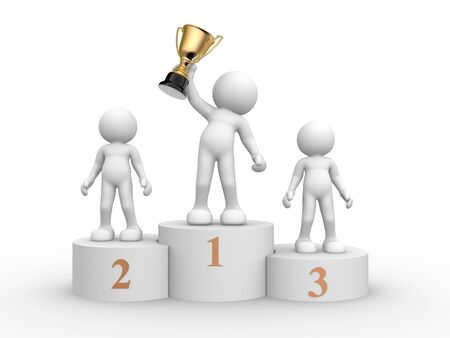 congratulation: 3d people - human character on podium - this is a 3d render illustration Stock Photo