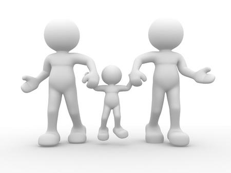 marioneta: 3d personas, el carácter humano - familia feliz Esta es una ilustración 3d