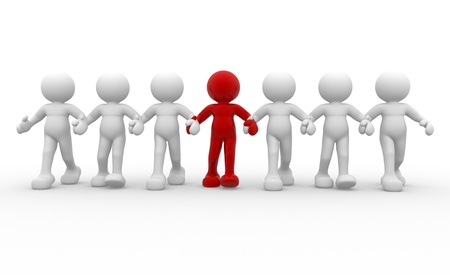 follow the leader: 3d mensen-menselijk karakter leiderschap en team - Dit is een 3d render illustratie