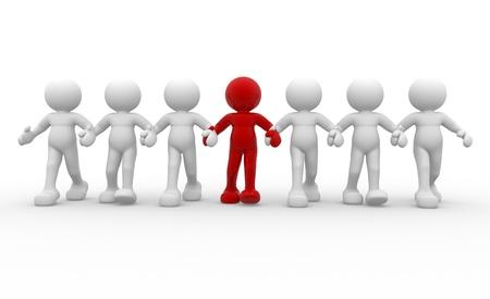 lideres: Gente-humano 3d carácter y liderazgo del equipo - Esta es una ilustración 3d