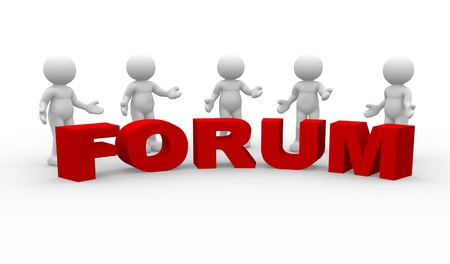 forums: 3d people - human character  Five men talking and word  Forum   3d render illustration