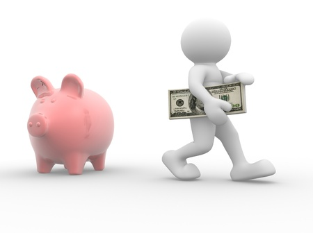 bank account: 3d people - human character with piggy bank and money - dollars  3d render illustration  Stock Photo
