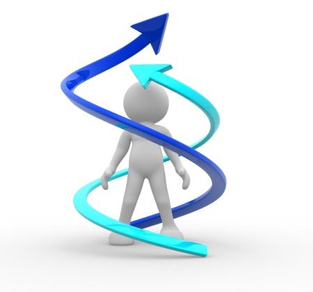 superacion personal: 3d gente - car�cter humano rodeado de flechas ilustraci�n 3d