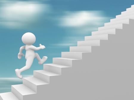 stair: 3d mensen - het menselijk karakter beklimmen van de trap - trap 3d illustratie Stockfoto