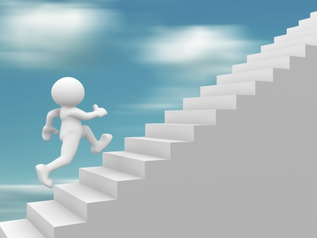 improve: 3d people - human character climb the  staircase - stair  3d render illustration