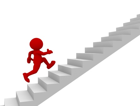 3d people - human character climb the  staircase - stair  3d render illustration Stock Illustration - 14767183