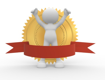 3d people - human character and golden guarantee medal with red bow  3d render illustration illustration