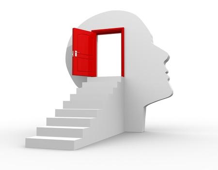 puerta abierta: Cabeza humana con una puerta abierta - ilustraci�n 3d