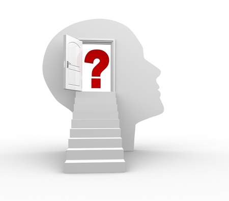 thinker: Human head with an open door and question mark - 3d render illustartion