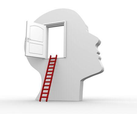 open brain: Human head with an open door - 3d render illustration Stock Photo