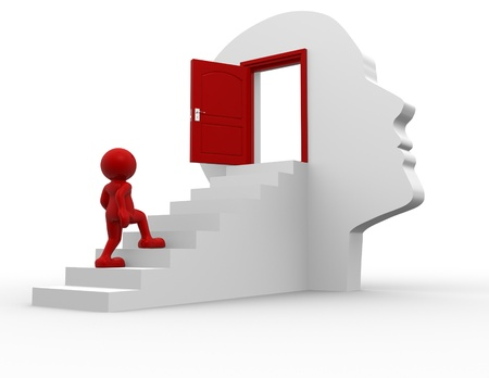thinker: 3d people - human character  climbing the stairs to the open door - this is a 3d render illustration  Stock Photo