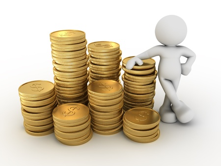 calculations: 3d people - human character and a stack of coins  3d render illustration Stock Photo