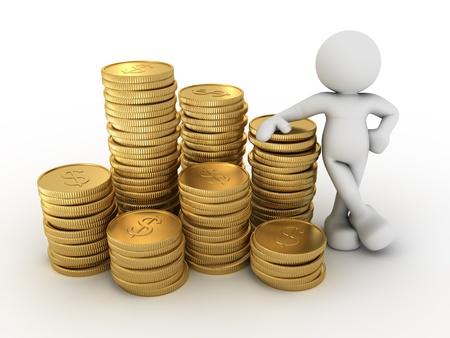 dinero: Gente 3d - car�cter humano y una pila de monedas 3d hacer ilustraci�n