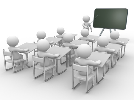 3d people - human character , person with pointer in hand close to blackboard. Concept of education and learning.  3d render illustration  illustration