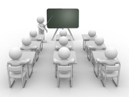 3d mensen - menselijk karakter, persoon met wijzer in hand dicht bij blackboard. Concept van het onderwijs en leren. 3d render illustratie