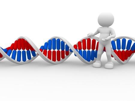 3d mensen pictogram met DNA-structuur. Dit is een 3d render illustratie