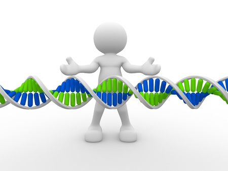 3d people icon with DNA structure. This is a 3d render illustration  illustration