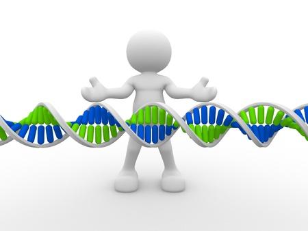 Las personas 3d icono con la estructura del ADN. Esta es una ilustración 3d