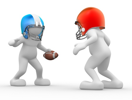 3d people - human character, person with helmet and ball. American football player. 3d render  photo