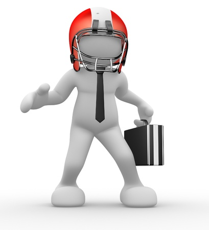 3d people - human character, person with helmet and a  briefcase. American football player and businessman. 3d render  photo